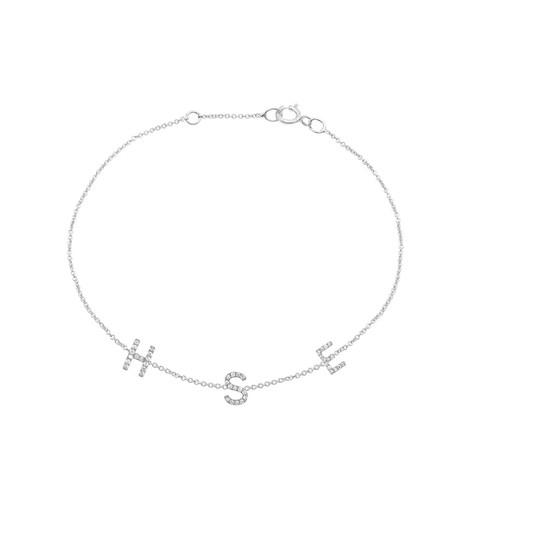 Mini Diamond Initial Bracelet 14K White Gold