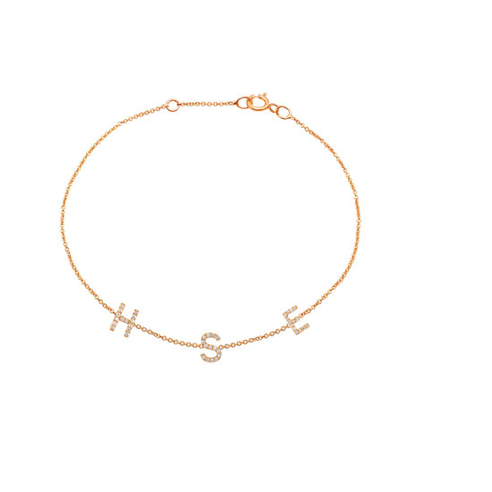Mini Diamond Initial Bracelet 14K Rose Gold