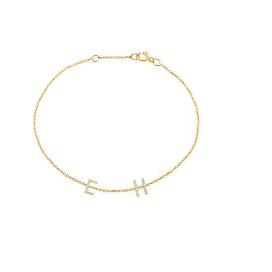 Diamond Initial Bracelet 14KY