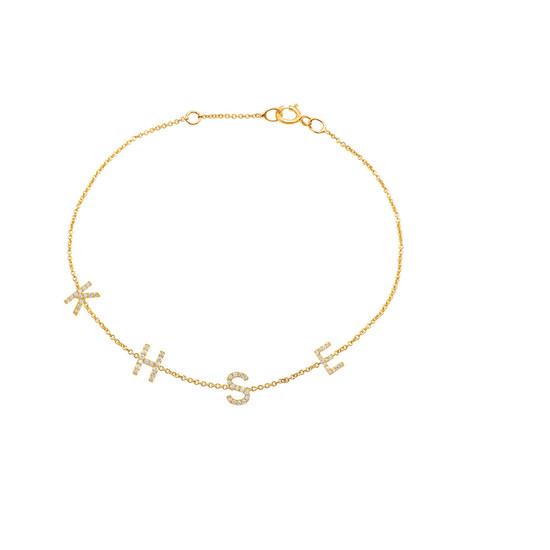 Diamond Space Letter Bracelet