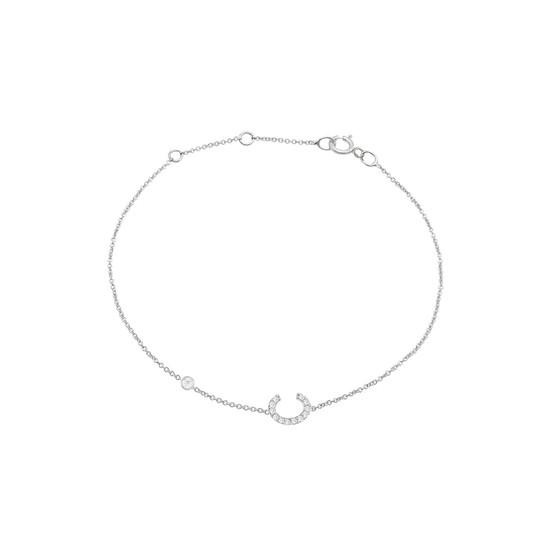 Diamond Initial with Bezels Bracelet 14K Gold