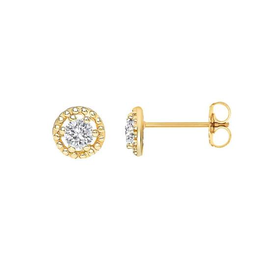 Small Diamond Filigree Stud Earring 14K Yellow Gold