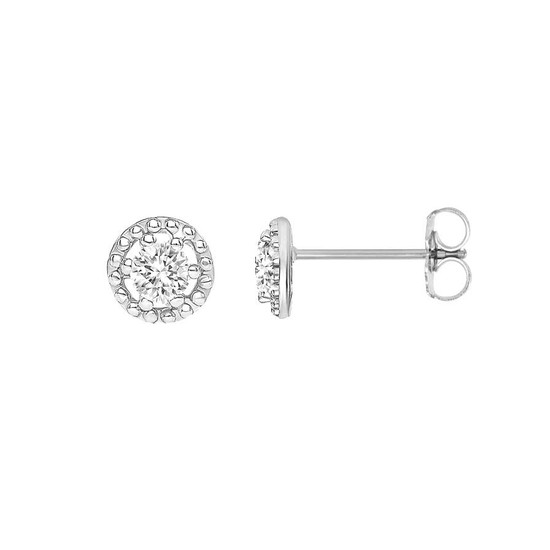 Small Diamond Filigree Stud Earring 14K White Gold
