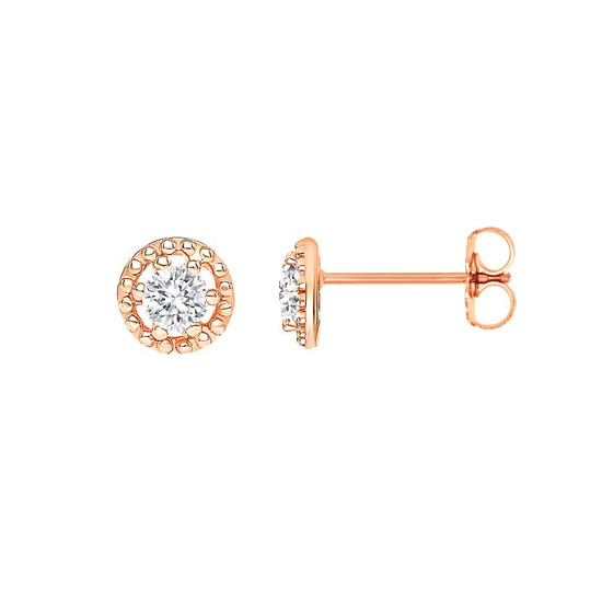 Small Diamond Filigree Stud Earring 14K Rose Gold