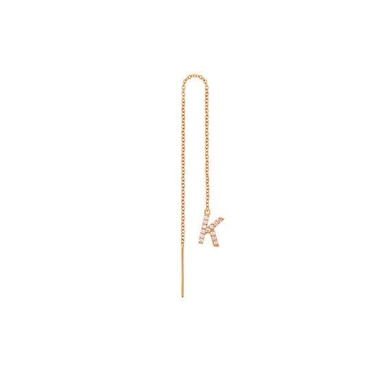 Diamond Initial Threader Earring 14K Rose Gold