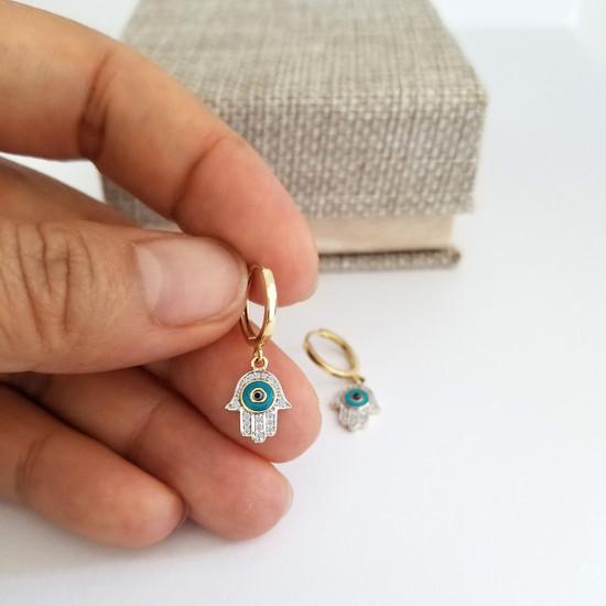 Diamond Hamsa Hoop Earrings 14K Yellow Gold
