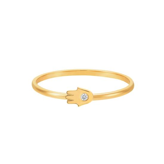 Diamond Hamsa Ring 14K Gold