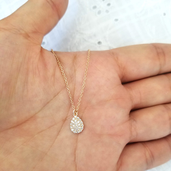 Diamond Pear Shaped Charm Necklace 14K Gold