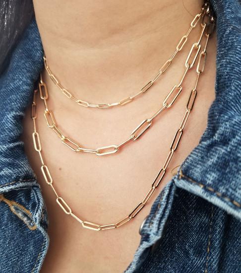 Large Paper Clip Chain Necklace 14K Gold