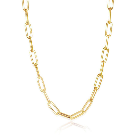 Large Paper Clip Chain Necklace 14K Yellow Gold