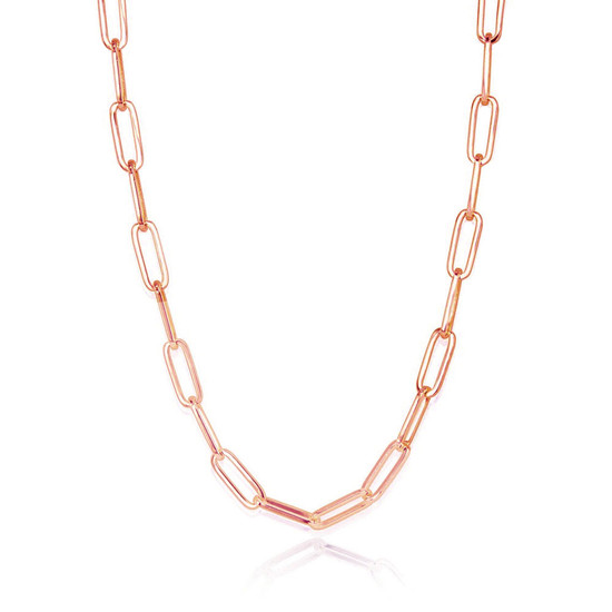 Large Paper Clip Chain Necklace 14K Rose Gold