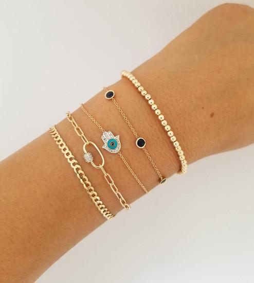 Diamond and Turquoise Evil Eye Hamsa Bracelet 14K Gold