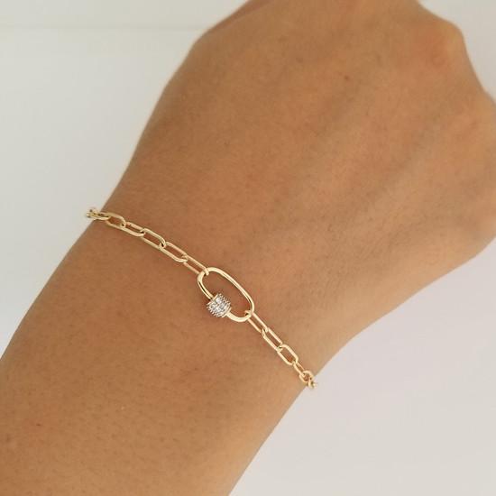 Paper Clip  Link Chain with Diamond Carabiner Bracelet 14K Gold