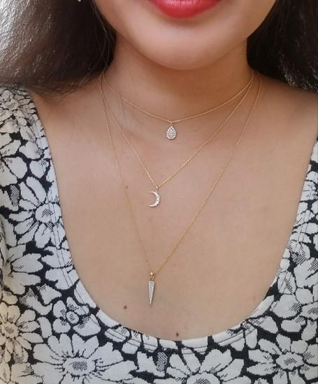 Pave Diamond Spike Charm Necklace 14K Gold