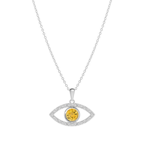 Diamond Evil Eye Necklace 14K White Gold