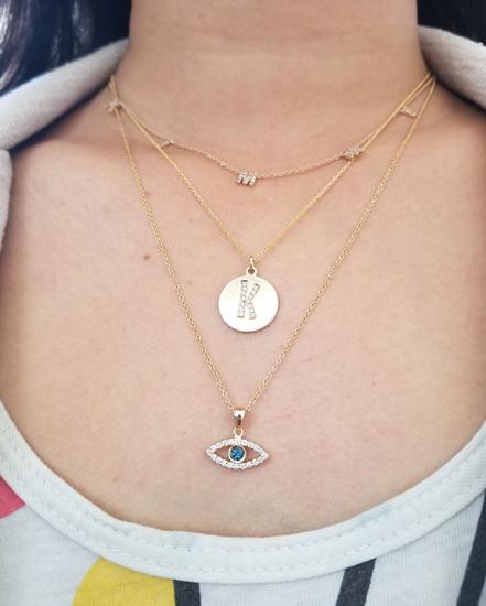 Diamond Evil Eye Necklace 14K Gold