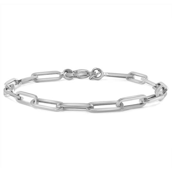 Paper Clip Link Chain Bracelet 14K White Gold