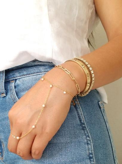 Paper Clip Link Chain Bracelet 14K Rose Gold