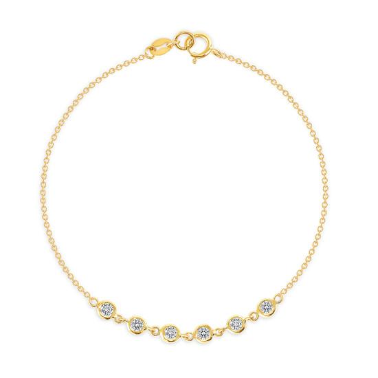6 Bezel Diamond Link Bracelet 14K Yellow Gold