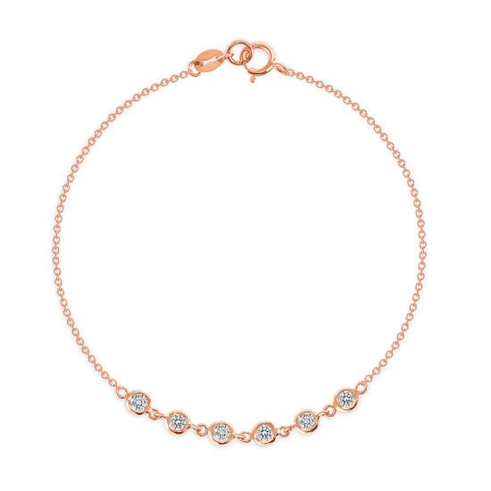 6 Bezel Diamond Link Bracelet 14K Rose Gold