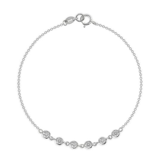 6 Bezel Diamond Link Bracelet 14K White Gold