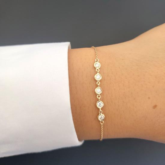 5 Bezel Diamond Link Bracelet 14K Yellow Gold