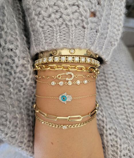 Bezel Diamond Link Bracelet 14K Gold