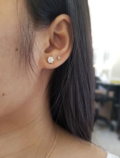 Diamond Cluster Stud Earrings in 14K Gold