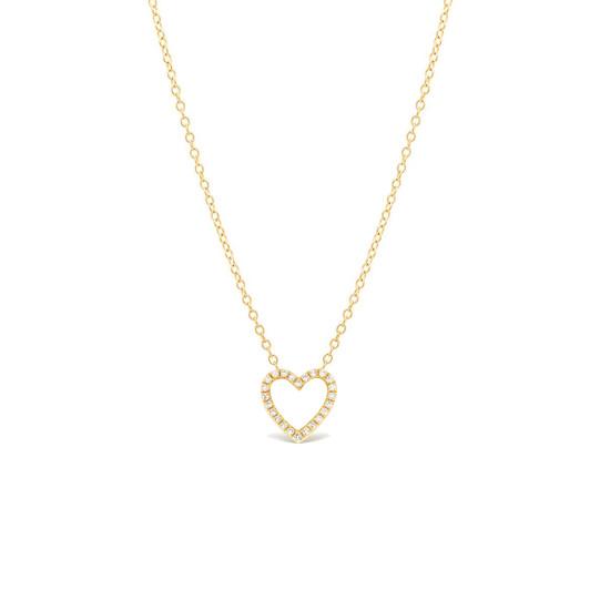 Diamond Open Heart Necklace 14K Yellow Gold