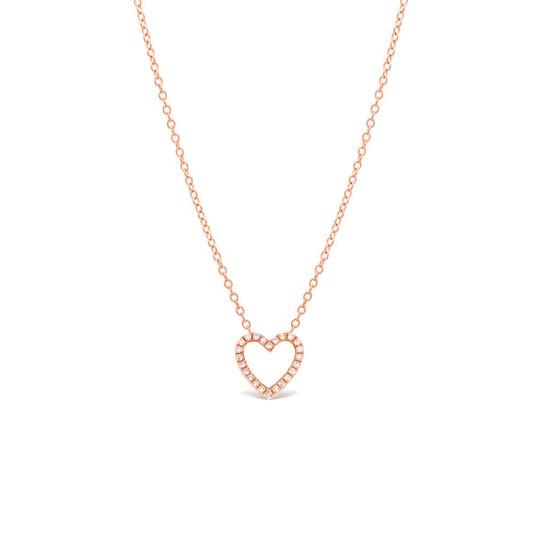 Diamond Open Heart Necklace 14K Rose Gold