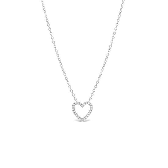 Diamond Open Heart Necklace 14K White Gold
