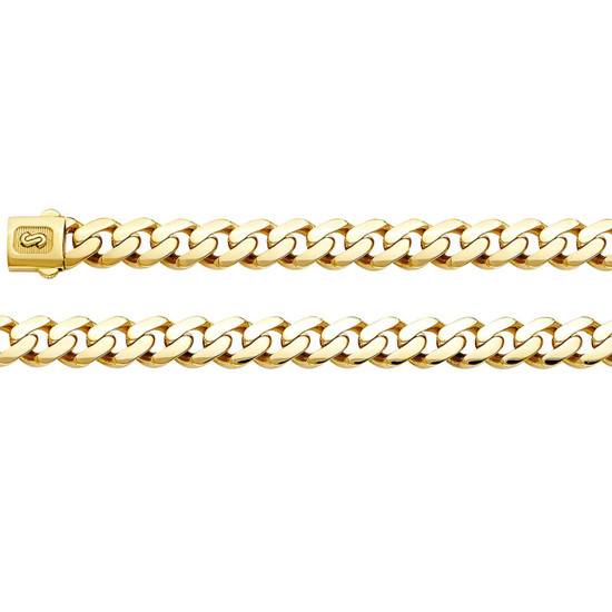 9.5mm Cuban Link Chain Necklace 14K Gold