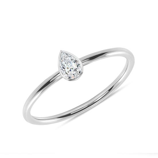 Pear Shaped Diamond Engagement Ring 14K White Gold