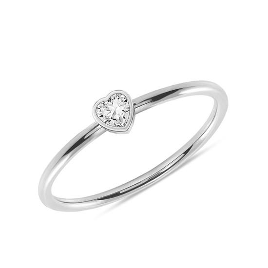 Heart Shaped Diamond Promise Ring 14K White Gold