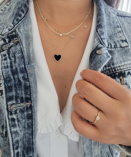 Heart Shaped Diamond Promise Ring 14K Gold