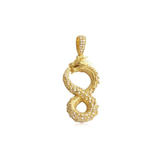 Diamond Infinity Dragon Pendant 14K Yellow Gold