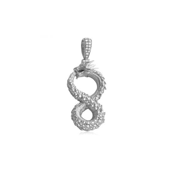 Diamond Infinity Dragon Pendant 14K White Gold