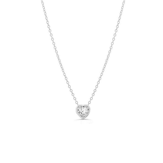 Diamond Heart Solitaire Bezel Pendant Necklace 14K White Gold