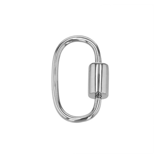 14K White Gold Plain Carabiner Clasp With Screw Closure