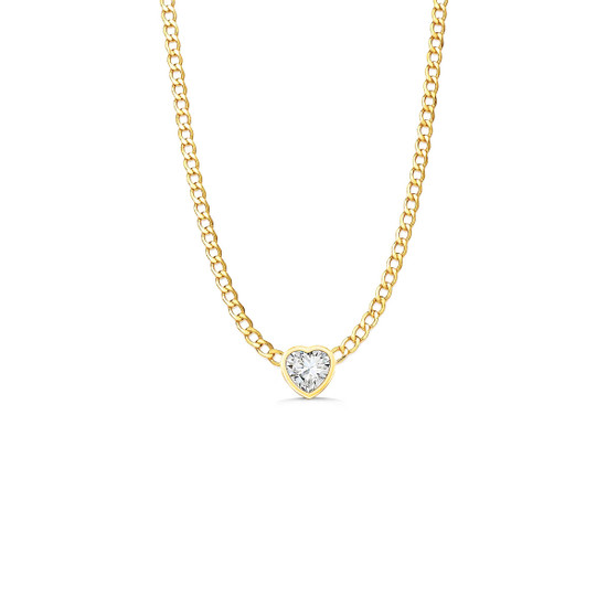Diamond Heart Cuban Link Necklace 14K Yellow Gold
