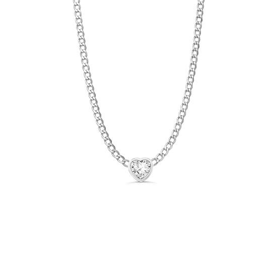 Diamond Heart Cuban Link Necklace 14K White Gold