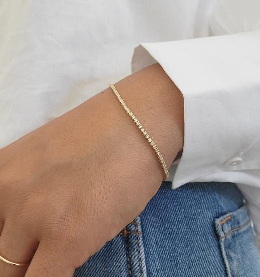 Dainty Diamond Tennis Bracelet 14K Yellow Gold