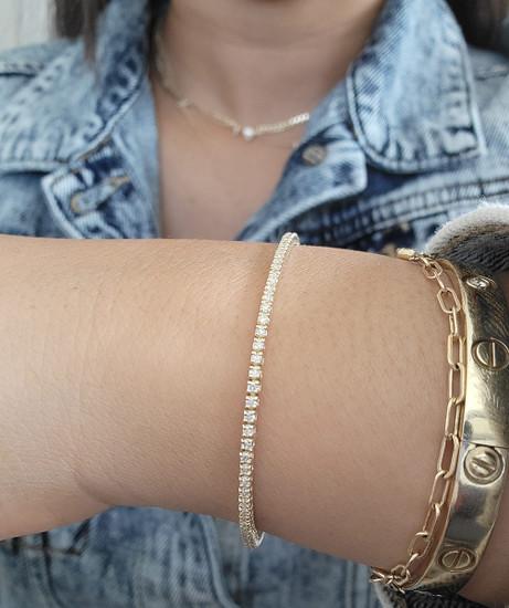 Dainty Diamond Tennis Bracelet 14K Gold