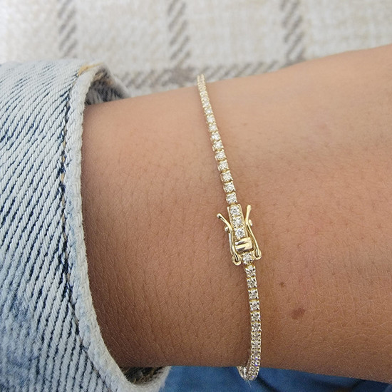 1ct Dainty Diamond Tennis Bracelet 14K Gold