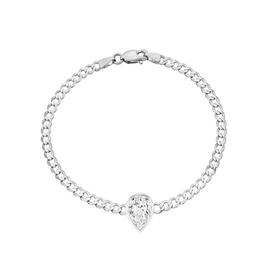 Pear Shape Diamond Cuban Link Bracelet 14K White Gold