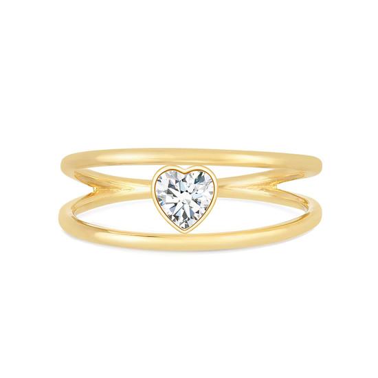 Heart Shaped Diamond Open Double Ring 14K Yellow Gold