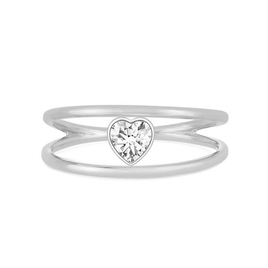 Heart Shaped Diamond Open Double Ring 14K White Gold