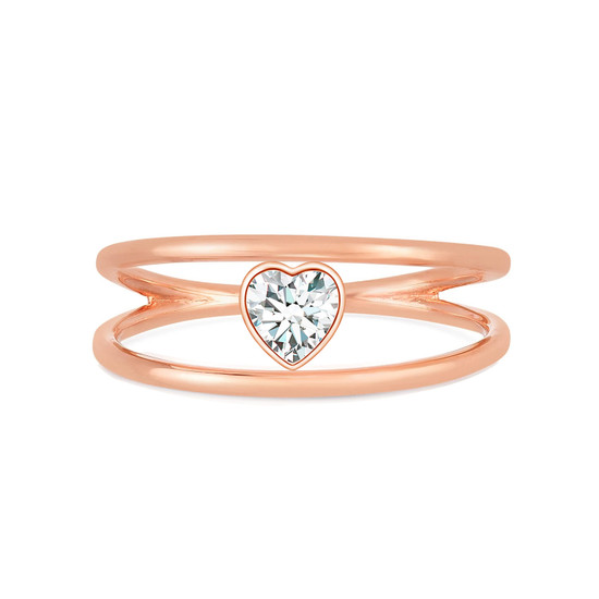 Heart Shaped Diamond Open Double Ring 14K Rose Gold