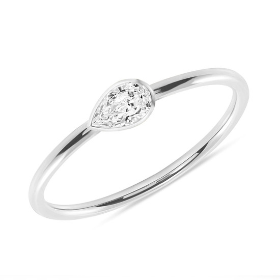 Solitaire Pear Shaped Diamond 14K White Gold