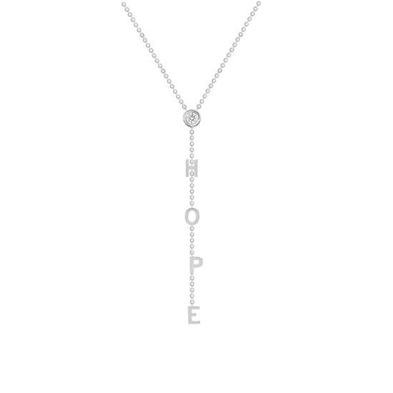 Diamond Lariat Initial Necklace 14K White Gold
